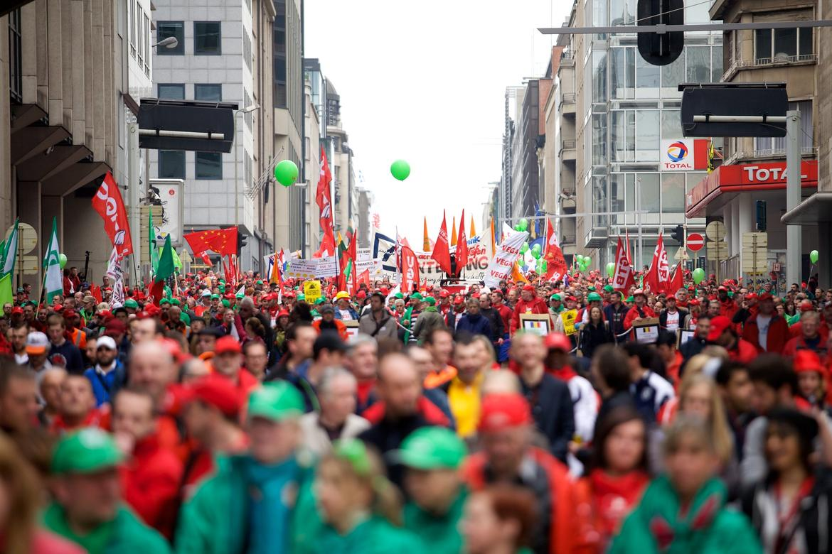 trade union demonstration in Brussels